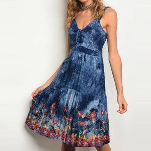 Embroidered Detail Tiered Tie Dye A-Line Dress